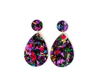 DROP earrings. Rainbow glitter acrylic.