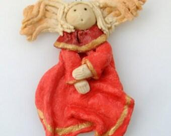 Salt dough angel. Home décor figurine. 10% LESS.
