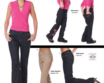 alie Women's Stretch Jeans Low or Regular Rise Pants Sewing Pattern 2908