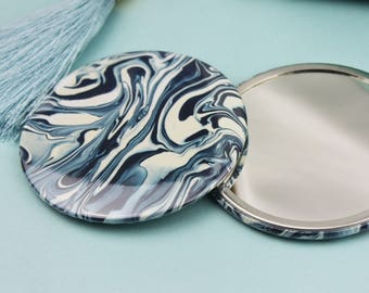 Paint Swirl Marble Pocket Mirror - Compact Mirror - Stocking Stuffer