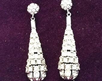 Art Deco rhinestone drop earrings# 172