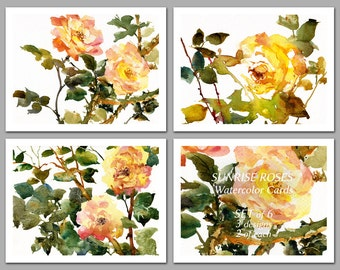 """Great Gift Idea - 6 NOTE CARDS - """"Sunrise Roses""""  Watercolor Paintings of Garden Roses by Linda Henry (NCWC081)"""