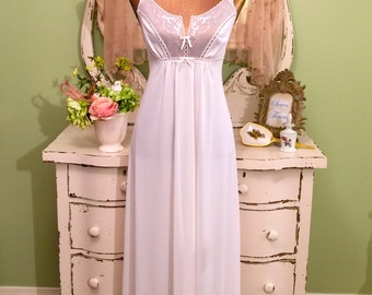 White Sheer Nightie, Flower Garlands, Long Nightgown, XS, Bridal Wedding Nightwear, Illusion Bodice Nightdress, Boudoir Essentials, Fabulous