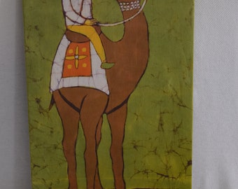 Authentic Cotton Batik Textile Art of a Man on a Camel Mounted and Ready to Hang