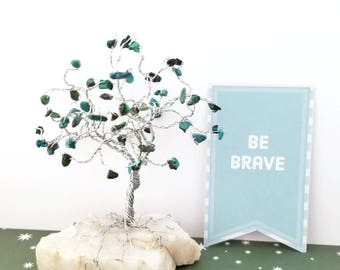 Turquoise Gem Tree, Quartz Rocks, Wire Tree, Wire Tree Sculpture, December Birthstone, Protection, Inspirational Gifts, Southwestern Decor