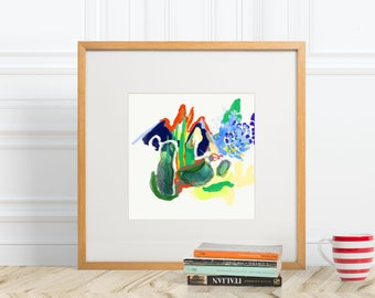 Colorful Abstract of Camping Square Print