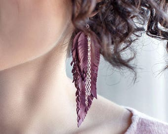 Dusty pink Feather Leather Earrings, layered earrings, tribal Earrings, Boho earrings, dangle earrings, long earrings