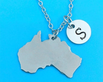 Map of Australia Necklace, Map of Australia Pendant, Map of Australia Charm Necklace, Map Chain, Best Friend Necklace, Custom Any Map Charm