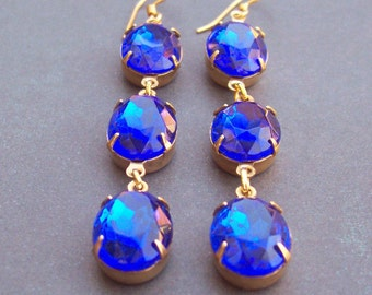 Sapphire Blue Estate Style Earrings Vintage Glass Jewel Shoulder Dusters. Wedding Gold Jewellery Jewelry Something Blue. Two Cheeky Monkeys