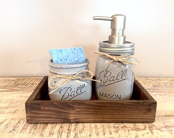 Kitchen Decor, Mason Jar Kitchen Set - Mason jar soap pump, farmhouse kitchen, farmhouse decor, rustic kitchen, gray decor