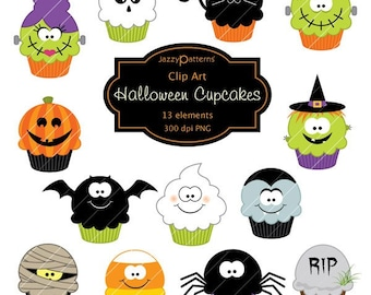 Halloween clipart Cupcakes CA014 instant download