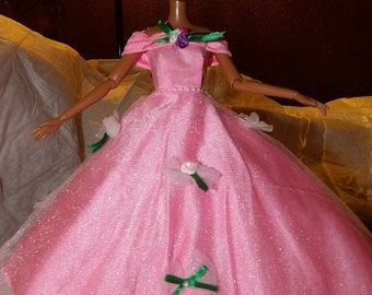 Pink princes ballgown with roses & pink Tulle net slip for Fashion Dolls - ed721