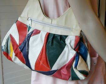 1980's multi coloured leather patchwork handbag