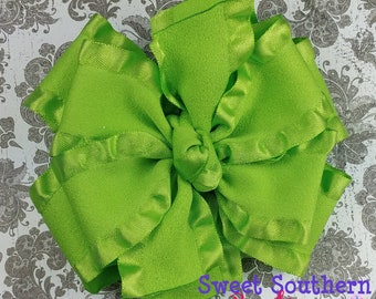 Apple Green Double Ruffle Bow