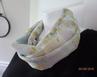 Lavender, blue and white Silk Infinity Scarf