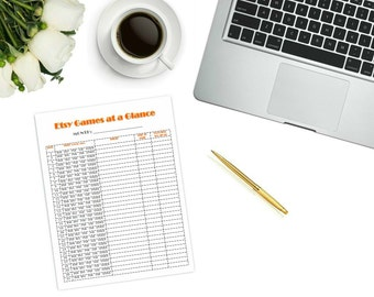 Etsy Games at a Glance Printable | instant download | digital download | bnr and bns printable | shopping list | etsy games at a glance