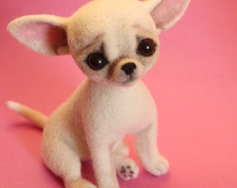 Chihuahua, **READY TO SHIP**.** free shipping to any country**. Chihuahua felted, needle felted animal, needle felt chihuahua