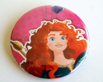 10 Upcycled Disney Princess Button - Princess Party Favor - Princess Birthday Party - Merida Favors - Merida Party Favors - Merida Buttons