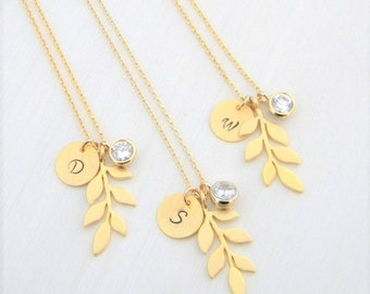 Gold Branch Necklace, Gold Leaf Necklace, Bridesmaids Necklace, Personalized Necklace, Cubic Zirconia, Leaf Initial Necklace, Gift for her