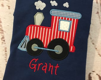Boys Applique Train short or long sleeve shirt with name Toddler and Youth size FREE SHIPPING