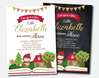 Little Red Riding Hood Invitation, Storybook Invitation, Woodland Birthday Girl, Once upon a time Invitation, Digital, 2 Options