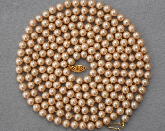 62 Inch Long Faux Pearl Necklace Vintage