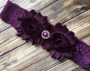 Eggplant Purple Shabby Flower Lace Headband, Photo Prop, Newborn Headband, Baby Headband, Toddler Headband, Girls Headband