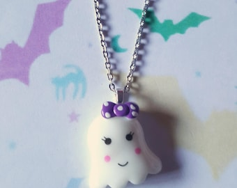 Ghost necklace, Cute ghost necklace, Halloween necklace, Ghost, Kawaii ghost, Kawaii, Halloween, Horror, Pastel goth, Goth, Emo, Punk