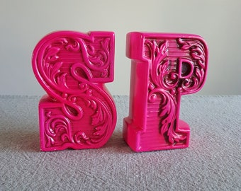 Hot pink ceramic salt and pepper shakers, giant letters S & P // 1960s mod tableware, groovy servingware, seasonings, serif font kitchenware