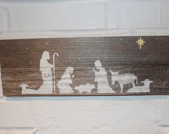 Nativity Scene Holiday Reclaimed Wood Sign