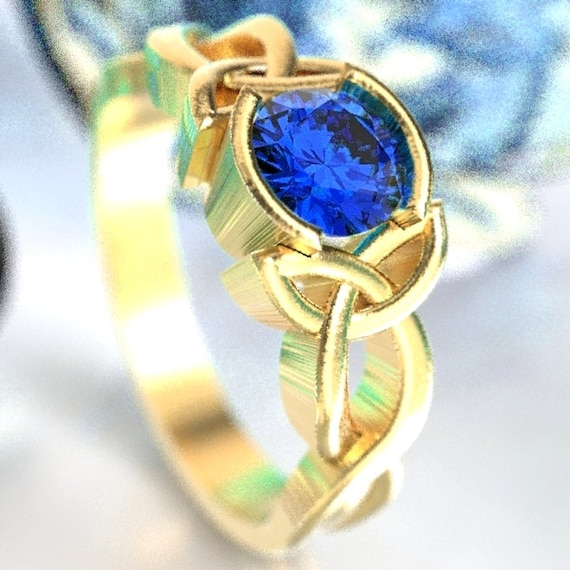 Celtic Sapphire Engagement Ring With Trinity Knot Design in 10K 14K 18K Gold, Palladium or Platinum Made in Your Size CR-405b