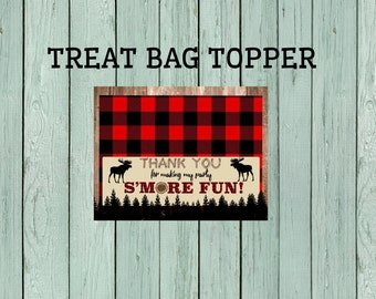 Lumberjack S'more Treat Bag Topper-Moose *****INSTANT DOWNLOAD**** (Lumber-MooseBagTopper)