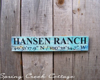 Coordinates, Latitude & Longitude, Custom, Signs, Personalized Signs, Rustic, Farmhouse, Country, Ranch, Farm, Handpainted