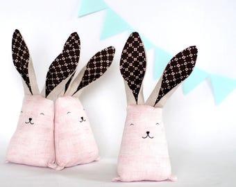 Blush pink bunny, stuffed rabbit, woodland animal toy, soft toys, baby shower gift, heirloom toddler, Easter gift for girl, Easter basket