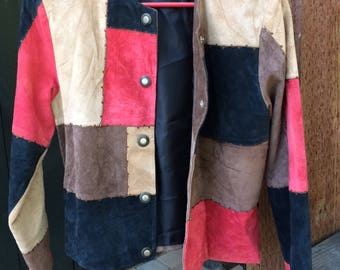 VINTAGE 80s genuine leather patched jacket