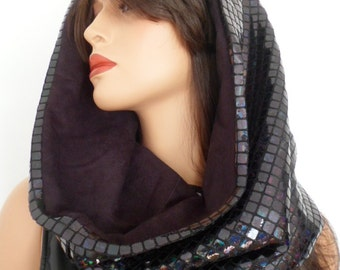 festival hood, black sequin snood, black sequin scarf, hologram snood, festival clothing