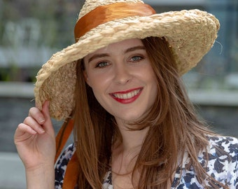 Handmade Bespoke Raffia Hat with Wide Brim perfect for Summer Holiday
