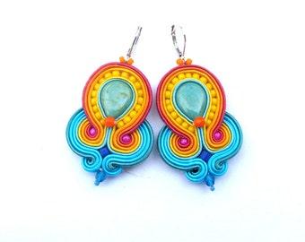Boho Dangle Earrings, Soutache Earrings, Yellow Earrings, Blue Earrings, Turquoise Earrings, Green Earrings, Red Earrings, Handmade Earrings
