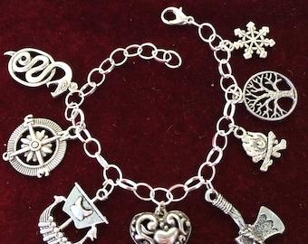 "Vikings theme, 8 Pewter Charms, 7 1/2"" Silver Plated Bracelet V2"