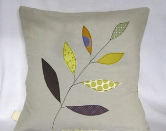 """Cushion cover, olive green leaves on a branch, free motion applique, linen, cotton, 16"""" / 40cm."""