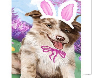 Border Collie Dog Easter Holiday Set of 10 Greeting Cards