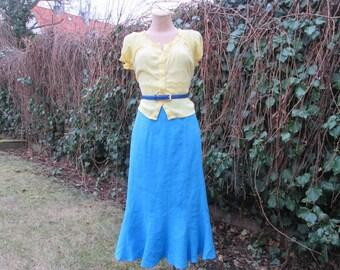 Linen Skirt / Skirt Vintage / Long Linen Skirt / Blue Linen Skirt / Size EUR40 / UK12 / Lining