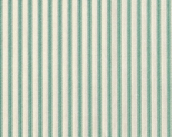Superbe Round Tablecloth Pool Green Ticking Stripe