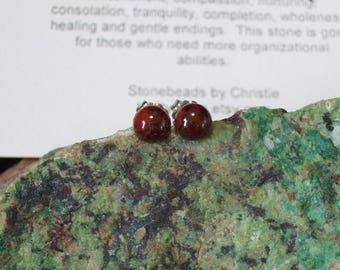 Ear Studs 6mm Poppy Jasper Titanium Posts and Clutches Hypo Allergenic Made in Newfoundland Relaxation