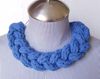 Fabric Statement Necklace - Recycled Material - Fabric Choker - Braided Tshirt Necklace