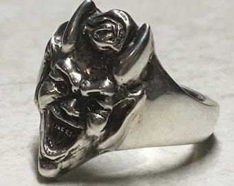 Sterling Silver Cheeky Little Devil Ring. Heavy Duty Solid Silver Mens Statement Ring.