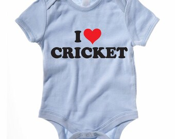 I Love Cricket Baby Grow / Vest - Idea for those little cricketers - 100% Cotton