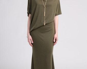 Off Shoulder Dress /  Summer  Maxi Dress / Asymmetrical Dress / Party Dress/ Mermaid Skirt / Khaki Maxi Dress / Dolman Sleeve/CLEARANCE