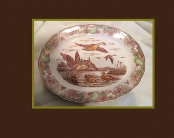 Vintage Ceramic Platter Made in Japan Ducks Outdoors Brown