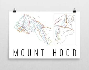 Mount Hood Ski Map Art, Mt Hood Art, Mt Hood Oregon, Mount Hood Trail Map, Oregon Art, Oregon Gifts, Oregon Print, Oregon Wall Art, Oregon